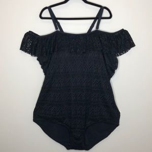 NWT SWIMSUITS FOR ALL black off the shoulder lace